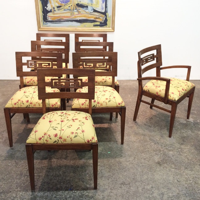 Set Of 8 Greek Key Dining Chairs
