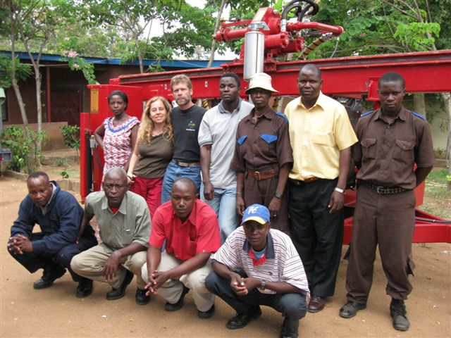 Maji Mengi Crew with Drilling Rig