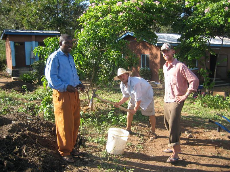 Volunteers working in the permaculture garden