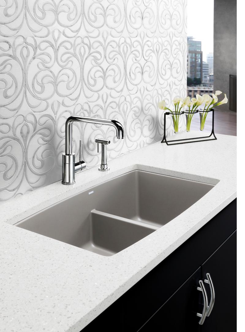 Blanco performa low divide white gold for Silgranit countertops