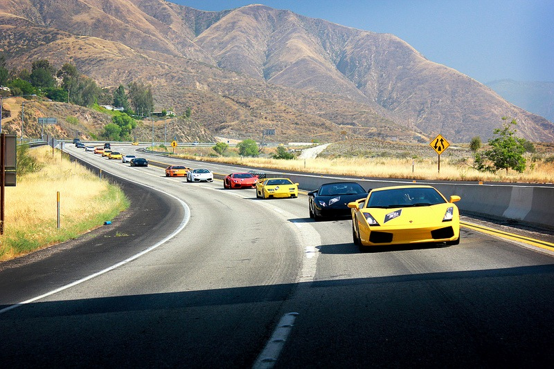 The Convoy Of 50 Lamborghinis Took Off From Lamborghini Newport Beach For A  300 Miles Loop With An Overnight Stay At The Lake Arrowhead Resort U0026 Spa.