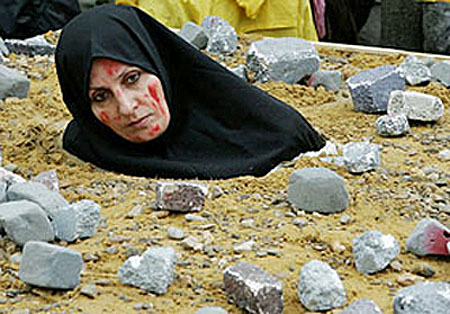 woman being stoned