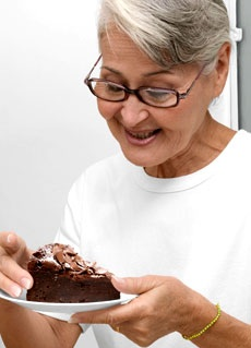 woman and cake crop