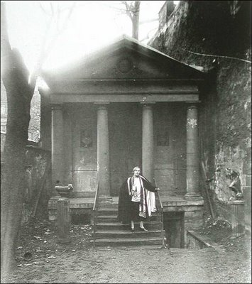 Natalie Barney in front of temple