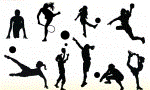 Silhouette of females playing various sports