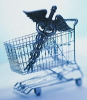 Graphic of caduceus in a shopping cart