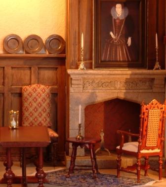 Miniature interior with Tudor decor