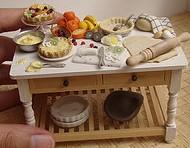Kitchen table during tart making