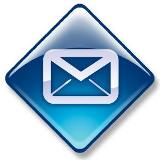 Graphic of an envelope on a blue