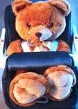Teddy bear in a toddler's car seat