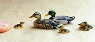 Miniatures of a mallard duck family