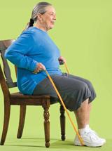 Seated woman doing a rowing exercise