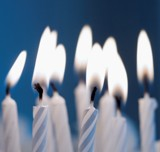 Close-up of burning birthday candles