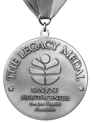 B&W photo of the San Jose Medical Center Foundation's Legacy Medal