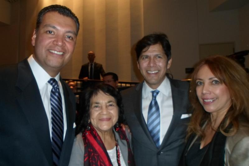 Secretary of State Alex Padilla, dolores Huerta, Senate Pro Tem Kevin De Leon, Norma Alcala, WUSD Trustee