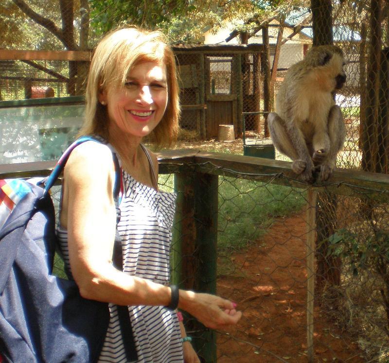 Jodi feeding monkey