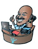 Caricature of Kal Reece at his desk.