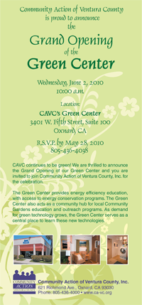 Green Center Opening Postcard