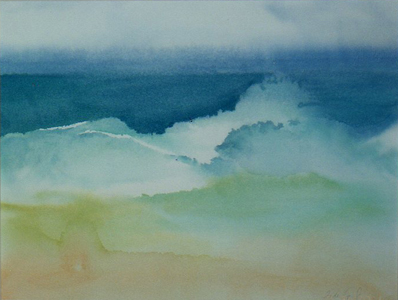 watercolor painting of waves on the beach