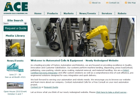 ACE Redesigned Website 2010