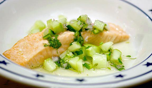 salmon with cucumber relish