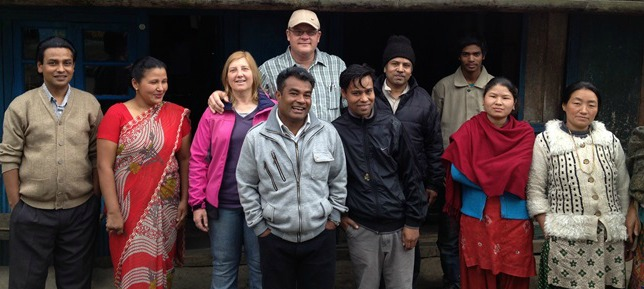 Jeff & Julie with our brothers and sisters in Christ in Pashupati Nepal