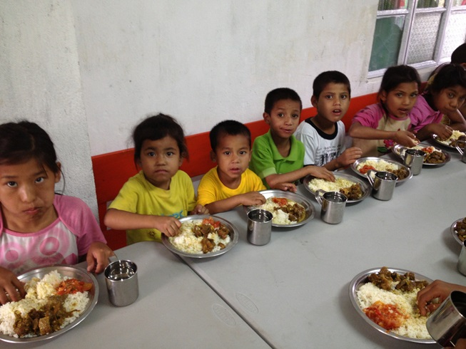 Children eating special meal