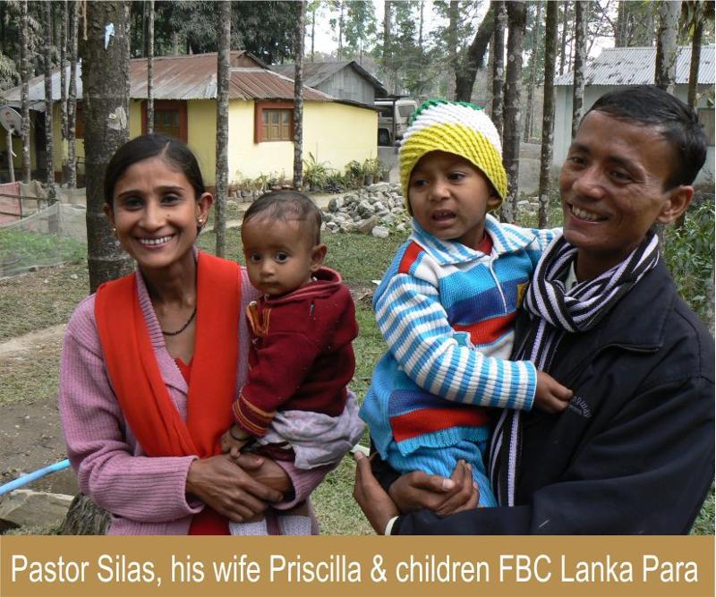 Pastor Silas, his wife Priscilla & children FBC Lanka Para
