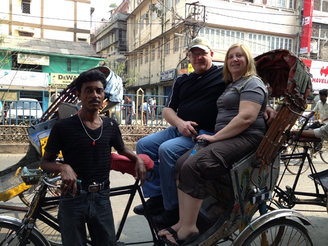 Jeff & Julie on a rickshaw