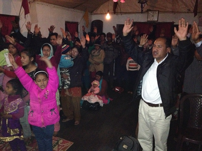 Worshiping at FBC Pashupati Nepal