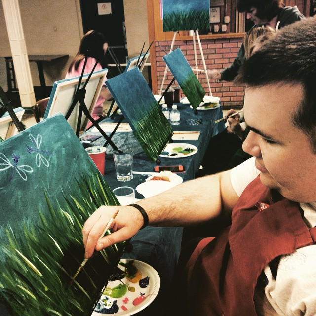 Ed Tries his hand at painting at the Center's paint night - he did a great job!