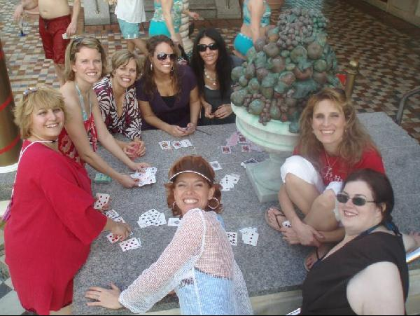 girls playing cards on cruise