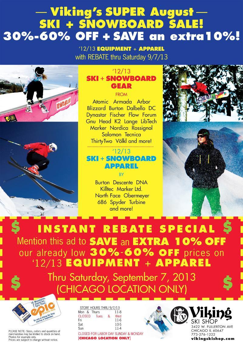 august ski sale