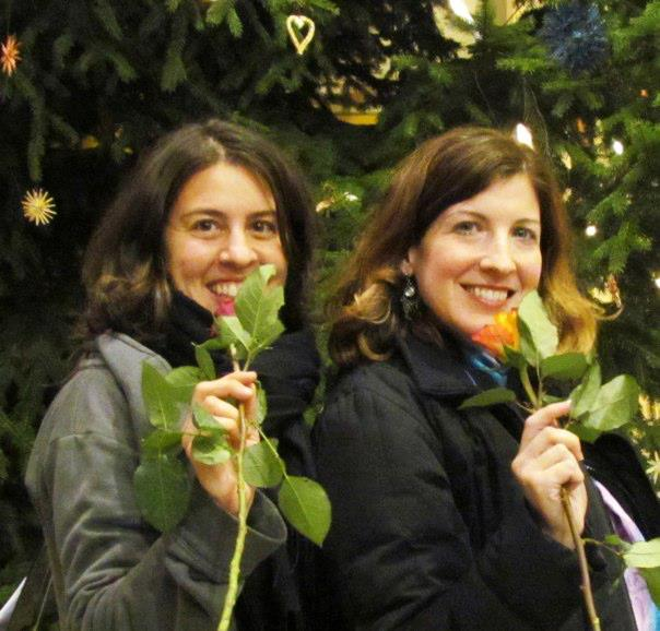 Deb West and Susan Rubin with roses in Berlin