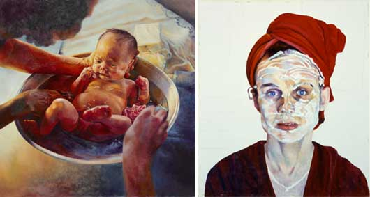 Left: Mary Pratt (b. 1935), Child with Two Adults, 1983, oil on masonite. 53.7 x 53.7 cm, Private collection; right: Mary Pratt (b. 1935), Cold Cream, 1983, pencil and oil on masonite, 48.3 cm x 41.3 cm, Collection of the Beaverbrook Art Gallery, Fredericton, New Brunswick, Gift of Mary Pratt