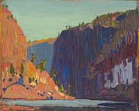 Tom Thomson (1877 - 1917), Petawawa Gorges, 1916, oil on wood panel, 21.4 x 26.5 cm, Purchased with funds donated by Major F.A. Tilston, V.C., McMichael Canadian Art Collection, 1981.9.2