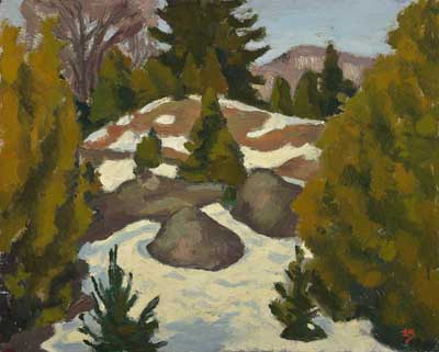 Edwin Holgate (1892-1977), Melting Snow, 1948, oil on wood panel, 21.6 x 27 cm,  Gift of Dr. and Mrs. W. Groves, McMichael Canadian Art Collection, 1966.11
