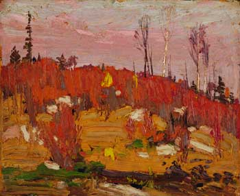 Tom Thomson (1877-1917), The Sumacs, 1916, oil on wood panel, 21.3 x 26.6 cm, Purchase 1980, McMichael Canadian Art Collection, 1981.19
