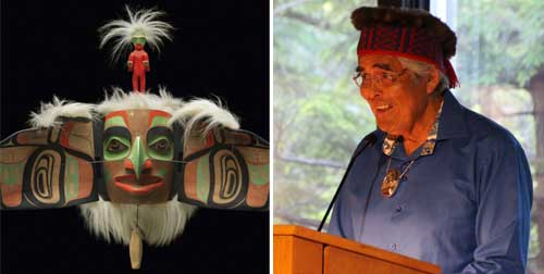 Left: Robert Davison, Nangkilslas: he whose voice is obeyed copy, 2009, red cedar, acrylic paint, mountain goat fur, 56.3 x 115 x 66.3 cm, Joseph Kovalik Family Collection; Right: Photo of Robert Davidson at the exhibition opening at the McMichael