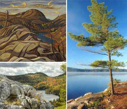Clockwise from bottom left: Photograph of Nellie Lake by Jim Waddington; A.Y. Jackson (1882-1974), Hills, Killarney, Ontario (Nellie Lake), c. 1933, oil on canvas, 77.3 x 81.7 cm, Gift of Mr. S. Walter Stewart, McMichael Canadian Art Collection, 1968.8.28; Photograph of Killarney Provincial Park.