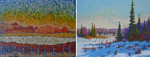 Left: Tony Marinus Vander Voet, Evening Glow , pastel and gold pigment on paper, 22 x 29 in;  Right: John Leonard, Winter Morning, oil, 24 x 30 in.