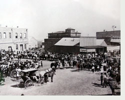 Photo from exhibit of historic town square