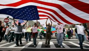 US flag and people