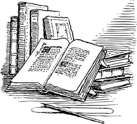Illustration of open books
