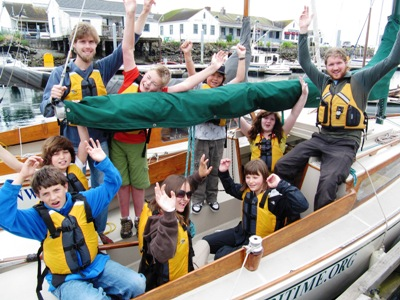 Campers get ready to set sail on their overnight adventure