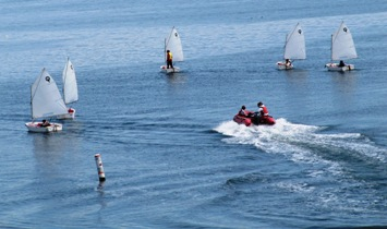 Youth learn-to-sail class on PT Bay