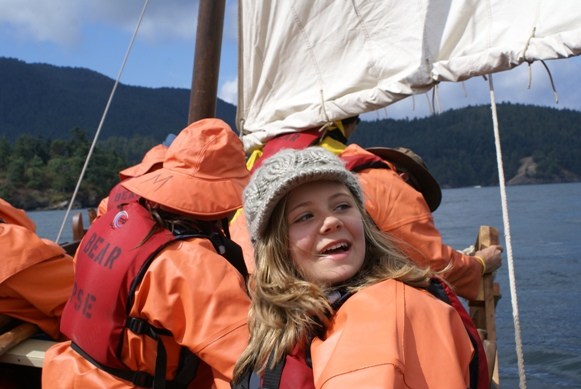 Program participants aboard longboat Bear