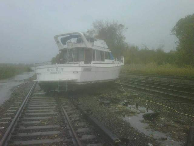 boat on track sandy