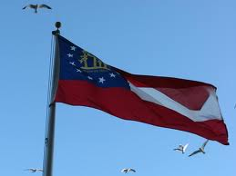 Georgia state flag flying