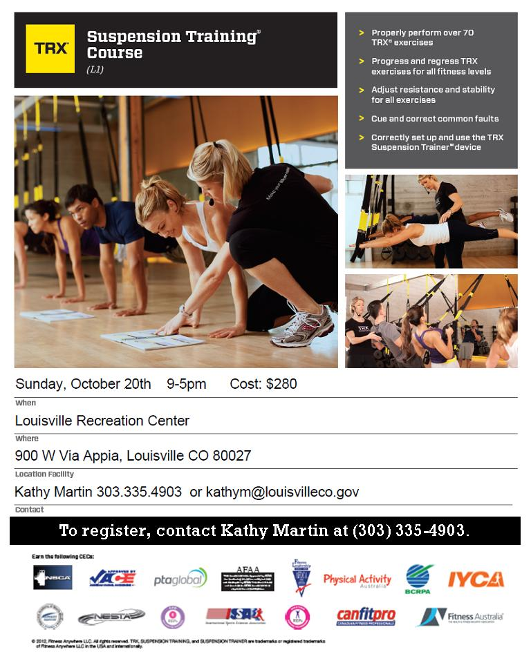 Sign Up Now To Attend Trx Certification At Louisville Rec Center